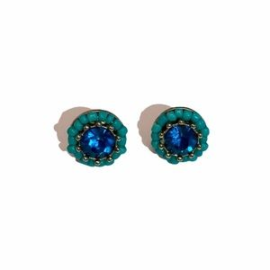 Aquamarine Blue Rhinestone Stud Earrings
